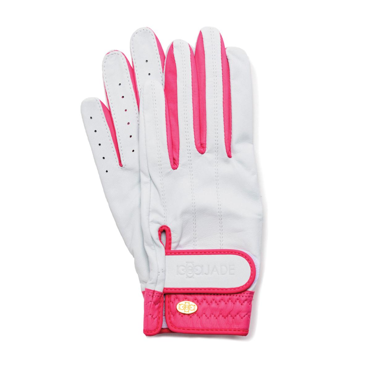 Elegant Golf Glove【両手】white-fuchsia