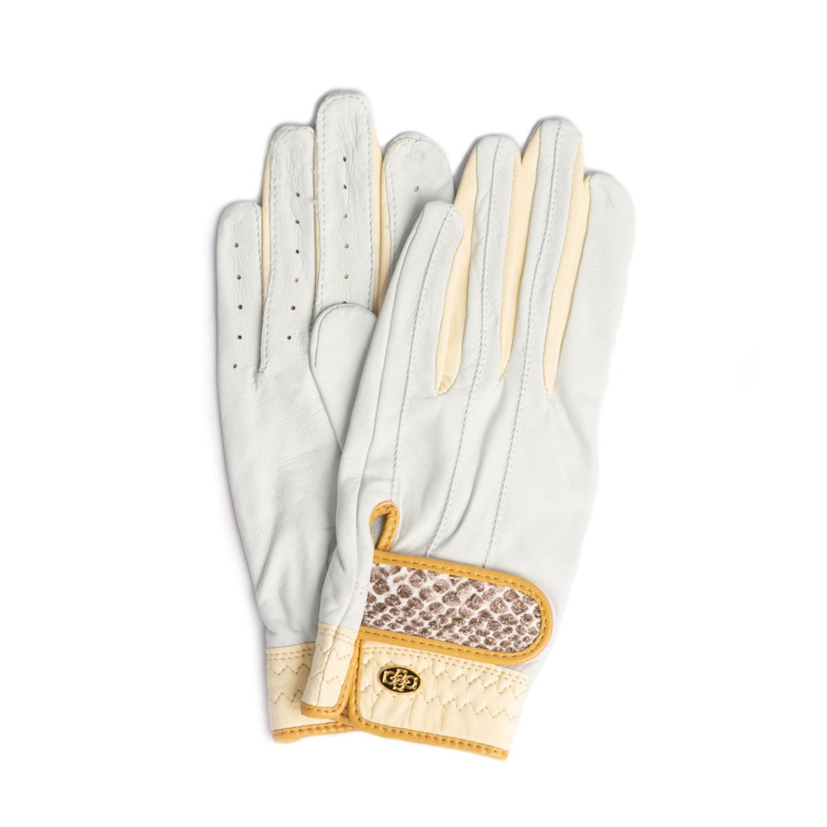 Elegant Golf Glove【両手】white-ivory-python